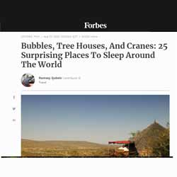 "<a href=""https://www.forbes.com/sites/ramseyqubein/2020/08/23/25-surprising-places-where-you-can-spend-the-night-around-the-world/"" target=""_blank"">Read more</a>"